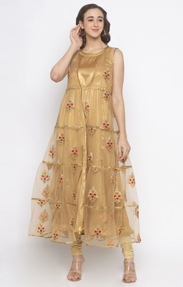 globus | Gold Embroidered Anarkali