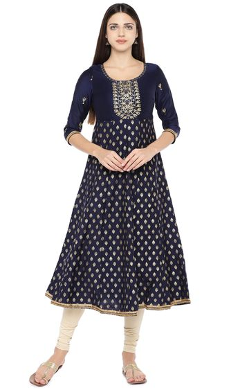 globus | Blue Embroidered Anarkali