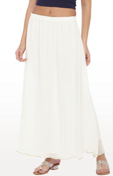 globus   White Solid Flared Skirt