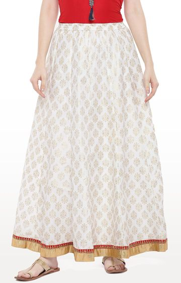 globus | White Printed Flared Skirt