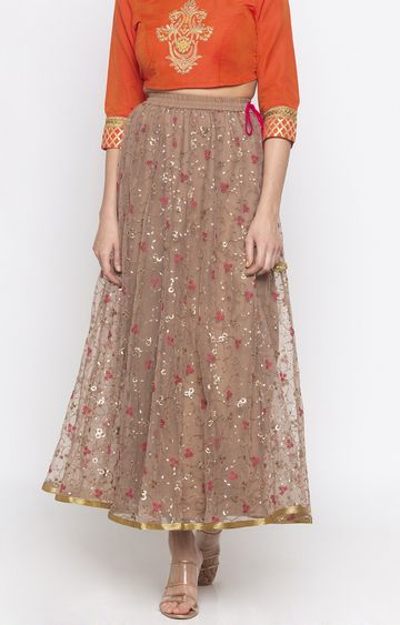 globus   Brown Embroidered Flared Skirt