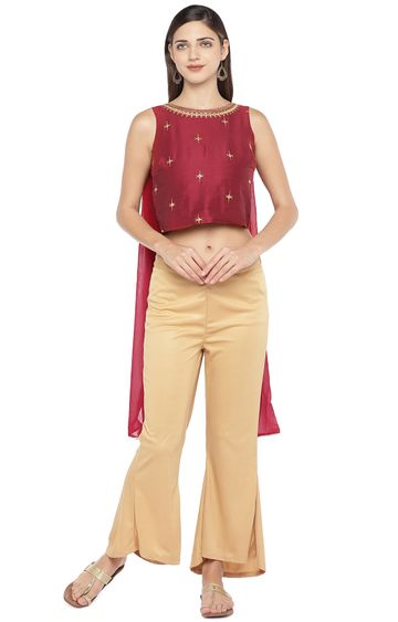 globus | Red Embroidered Crop Top