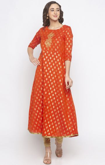 globus | Orange Printed Anarkali