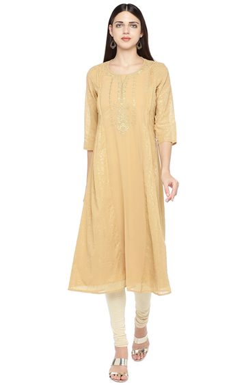 globus | Beige Embroidered Anarkali