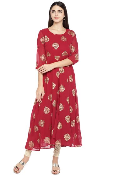 globus | Red Printed Anarkali