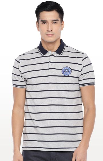 globus | Grey Striped Polo T-Shirt