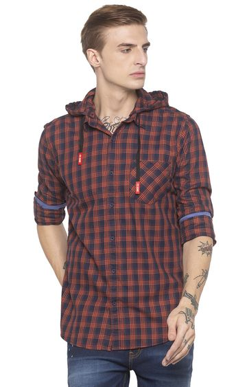 globus | Blue and Orange Checked Casual Shirt