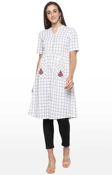 globus | White Checked Regular Kurti