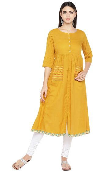 globus | Yellow Solid Anarkali