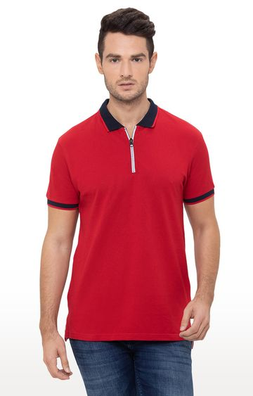 globus   Red Solid Polo T-Shirt