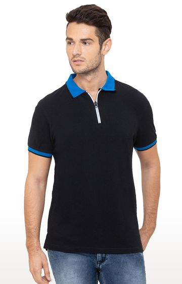 globus | Black Solid Polo T-Shirt