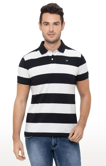 globus | White and black Striped Polo T-Shirt
