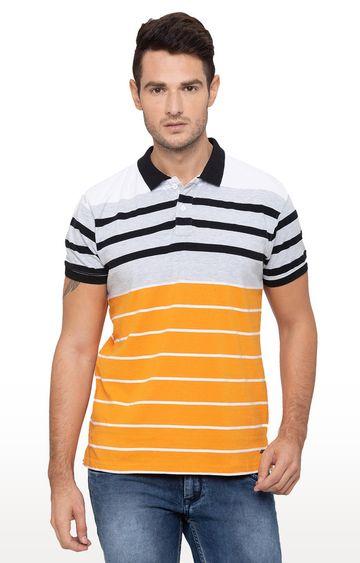 globus   Orange Striped Polo T-Shirt