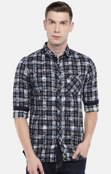 globus | Blue Checked Casual Shirt