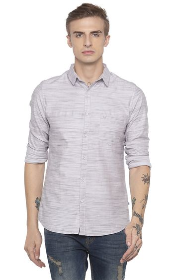 globus | Grey Striped Casual Shirt