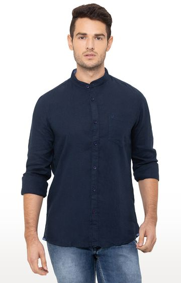 globus   Blue Solid Casual Shirt