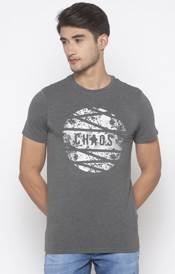 globus | Grey Printed T-Shirt