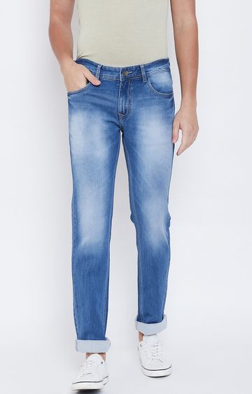 OCTAVE   Light Blue Solid Tapered Jeans