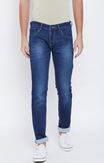 OCTAVE | Blue Solid Tapered Jeans