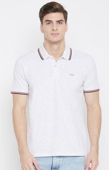 OCTAVE   White Melange Solid Polo T-Shirt