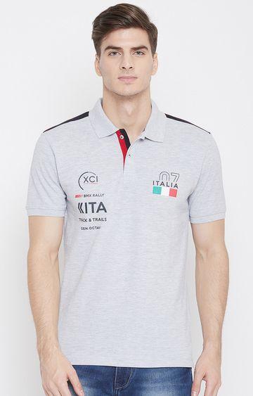OCTAVE   Grey Melange Printed Polo T-Shirt