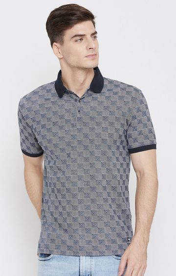 OCTAVE   Navy Checked Polo T-Shirt