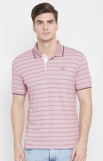 OCTAVE   Pink Striped Polo T-Shirt