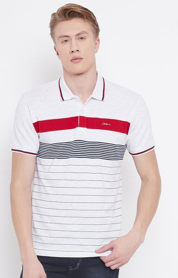 OCTAVE   White Striped Polo T-Shirt