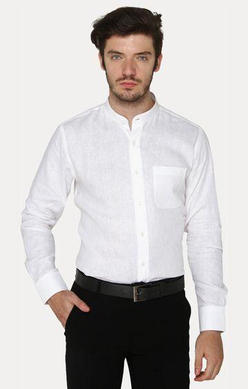 JadeBlue | White Melange Formal Shirt