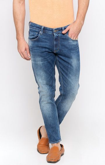 spykar | Spykar Mid Blue Solid Slim Thigh Ankle Length Fit Jeans