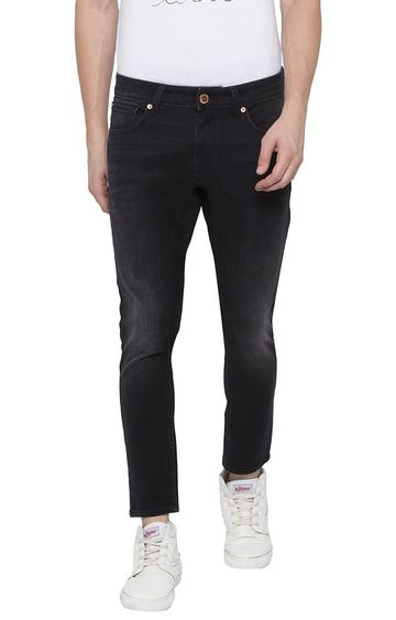 spykar | Spykar Carbon Black Solid Slim Thigh Ankle Length Fit Jeans