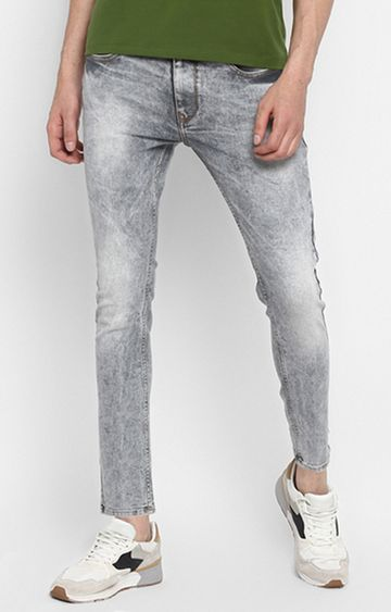 spykar | Spykar Light Grey Solid Slim Thigh Ankle Length Fit Jeans