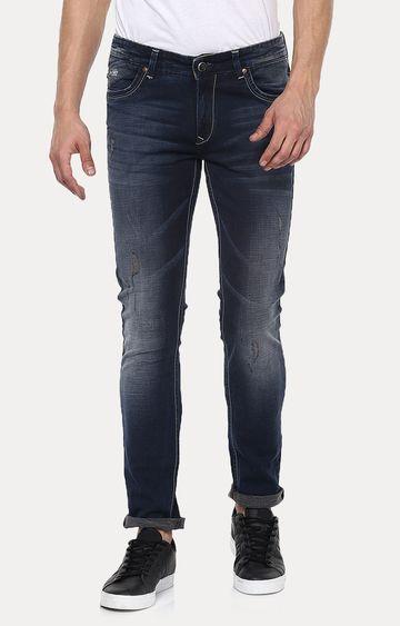 spykar | Spykar Navy Blue Solid Skinny Fit Jeans