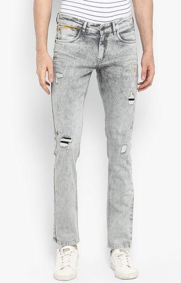 spykar   Spykar Grey Ripped Skinny Fit Jeans