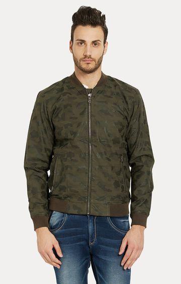 spykar | Spykar Green Solid Slim Fit Bomber Jackets