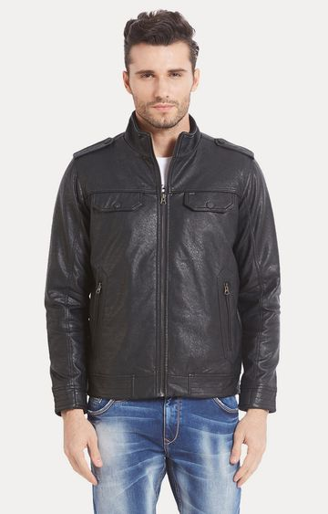 spykar | Spykar Black Solid Regular Fit Leather Jackets