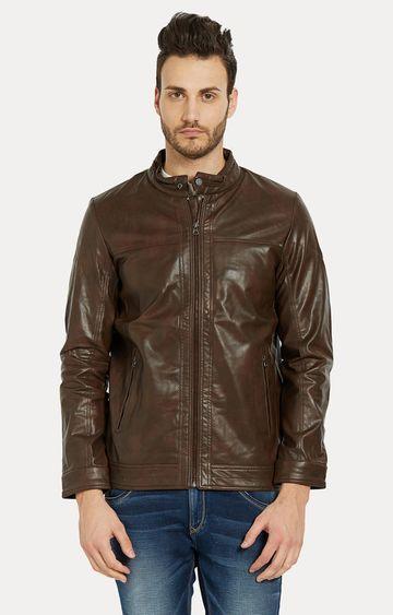 spykar | Spykar Brown Solid Slim Fit Leather Jackets