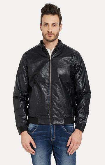 spykar | spykar Black Solid Slim Fit Leather Jackets