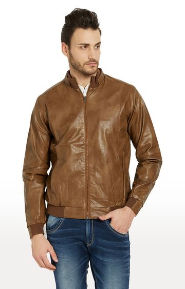 spykar | Spykar Tan Solid Regular Fit Leather Jackets