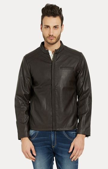 spykar | Spykar Dark Brown Solid Slim Fit Leather Jackets