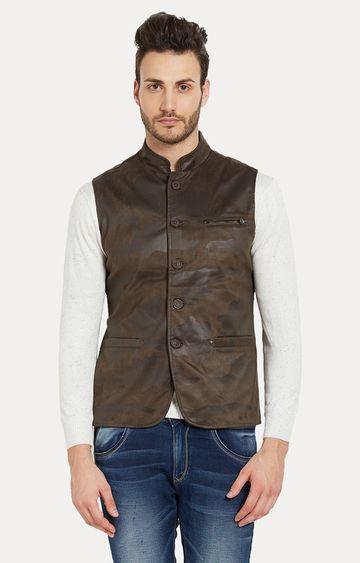 spykar | Spykar Green Camouflage Slim Fit Leather Jackets