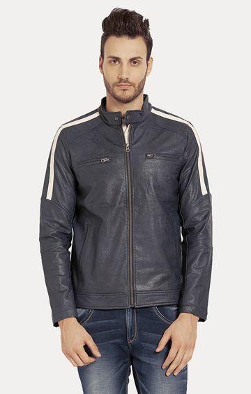 spykar | Spykar Blue Solid Slim Fit Leather Jackets