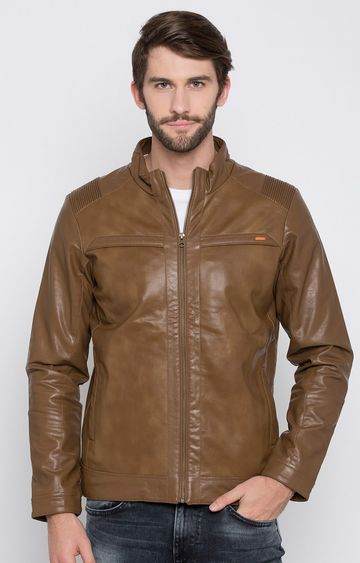 spykar | Spykar Brown Solid Regular Fit Leather Jackets