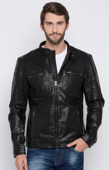 spykar | Spykar Black Solid Regular Fit Leather Jackets