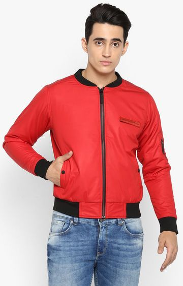 spykar | Spykar Red Solid Slim Fit Bomber Jackets