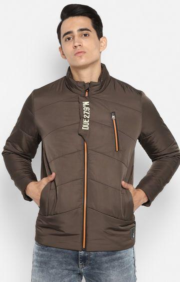 spykar | Spykar Olive Solid Slim Fit Bomber Jackets