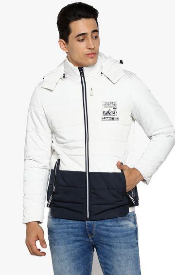 spykar | Spykar White Colourblock Slim Fit Bomber Jackets