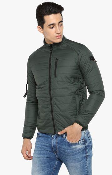 spykar | Spykar Forest Green Solid Bomber Jacket