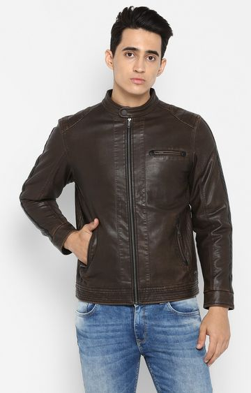 spykar | Spykar Brown Solid Slim Fit Leather Jackets