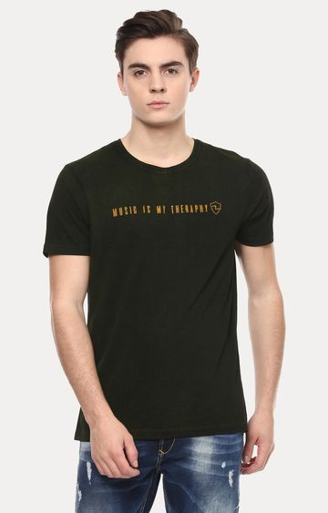 spykar | Spykar Dark Green Solid Slim Fit T-Shirts